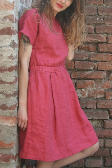 Summer Basic Simple Plain Round Neck Short Sleeve Elastic Waist Mini A-Line Linen Dress
