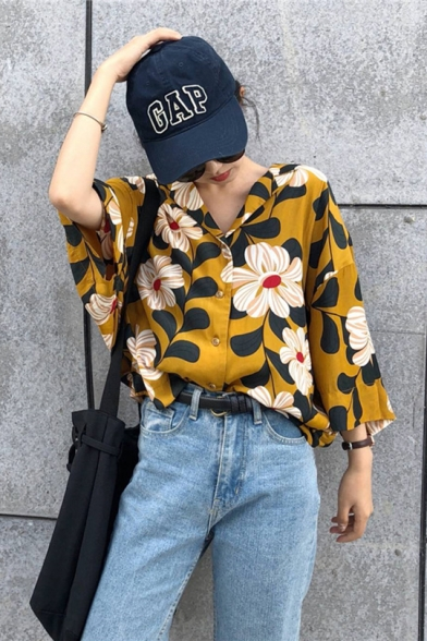 Summer Fashion Ginger Floral Printed Button Down Oversized Shirt