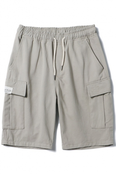 Summer Fashion Solid Color Flap Pocket Drawstring Waist Rolled Trim Casual Cargo Shorts