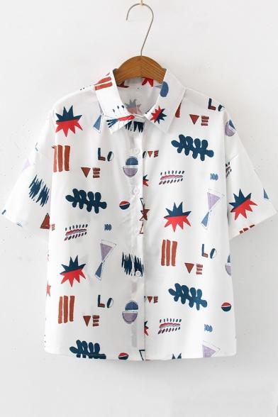 Summer Girls White Cartoon Pattern Short Sleeve Button Down Loose Shirt
