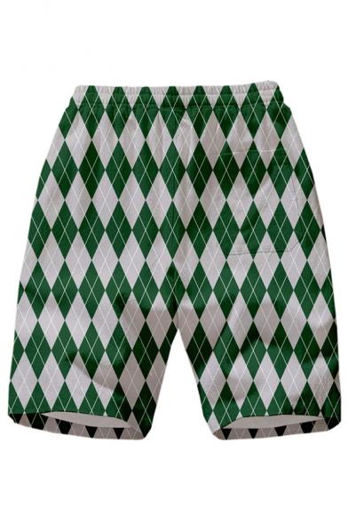 Summer Hot Fashion Diamond Geometry Badge Printed Drawstring Waist Quick-drying Casual Shorts