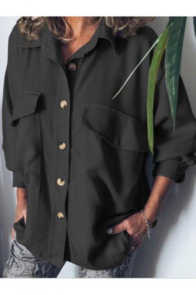 Summer Hot Fashion Simple Plain Long Sleeve Button Down Casual Shirt Blouse