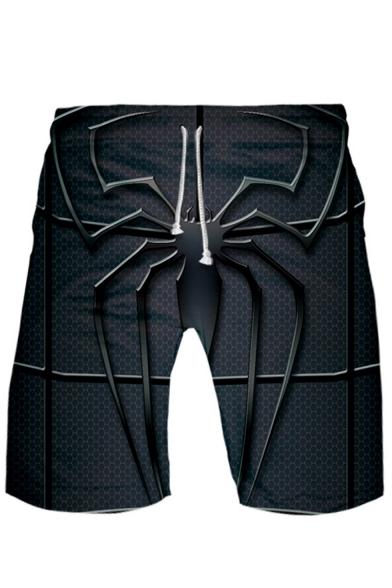 Summer Hot Fashion Spider Printed Drawstring Waist Quick-Drying Beach Swim Trunks