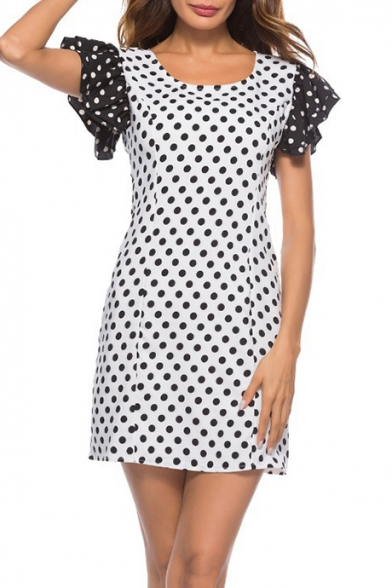 Summer New Trendy White Polka Dot Print Flutter Sleeve Mini A-Line Dress