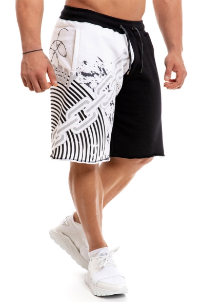 Summer Stylish Colorblock Stripes Letter Chain Printed Drawstring Waist Men's Casual Loose Sports Sweat Shorts