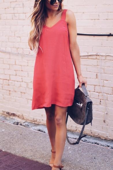 Summer Stylish Plain V-Neck Sleeveless Mini Casual Strap Dress