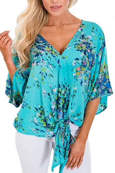 Summer Trendy Chic Floral Printed Bell Sleeve V-Neck Tied Hem Loose Fit Chiffon Blouse