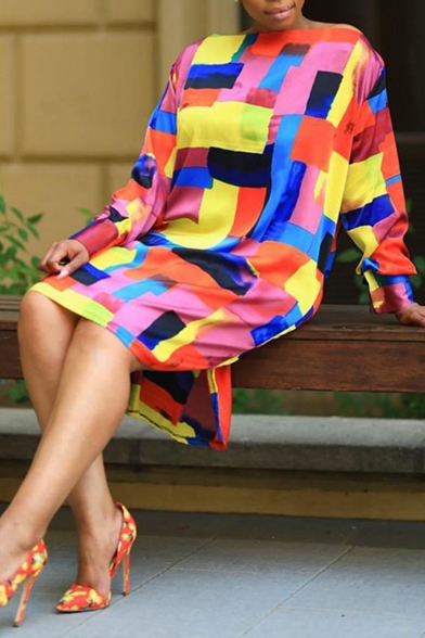 Summer Trendy Cool Colorful Color Block Round Neck Long Sleeve High Low Dress