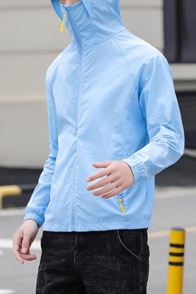 Summer Unisex Outdoor Breathable Zip Up Hooded Skin Jacket