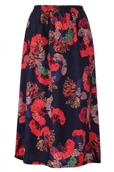 Summer Vintage Floral Printed Elastic Waist Midi Linen A-Line Skirt, LM545493, Color 1;color 2;color 3;color 4