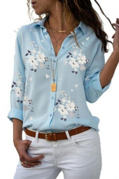Summer Womens Chic Floral Printed Long Sleeve Casual Button Down Shirt
