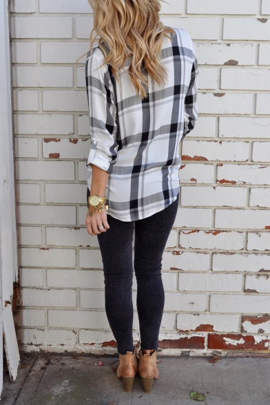 Trendy Plaid Pattern Long Sleeve Button Front Casual Loose Shirt for Women