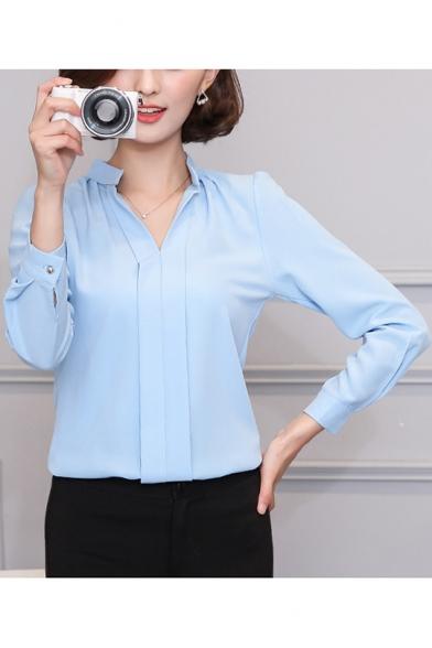 Womens Elegant Solid Color V-Neck Long Sleeve Simple Plain Chiffon Blouse Top