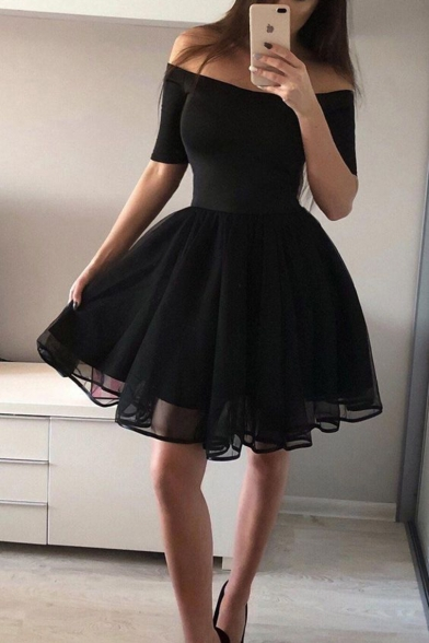 Womens Fashion Black Simple Solid Color Off Shoulder Midi Flared Dress for Party
