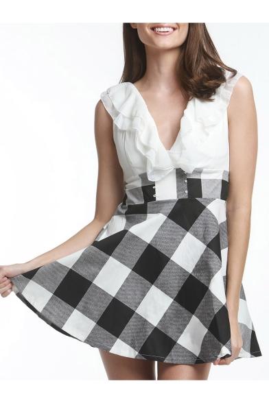 Womens Fashion Ruffled V-Neck Sleeveless Plaid Print Mini A-Line Dress