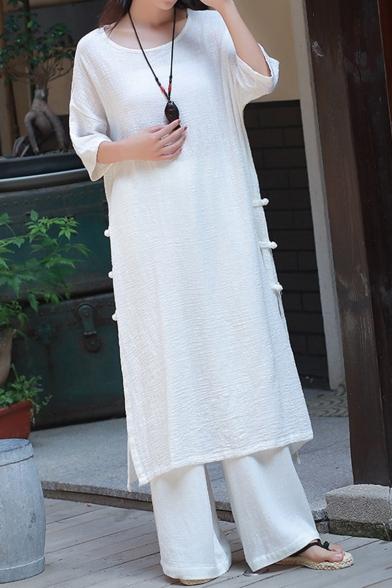 Womens Hot Fashion Vintage Plain Frog Button Side Half Sleeve Loose Maxi Linen T-Shirt Dress