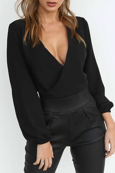 Womens Hot Stylish Plain Long Elastic Sleeve Plunge V Neck Knotted Fitted Blouse