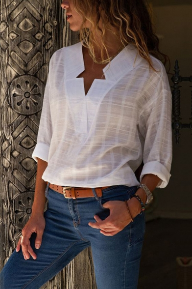 Womens Hot Trendy Check Texture V-Neck Long Sleeve Casual Loose Blouse Top