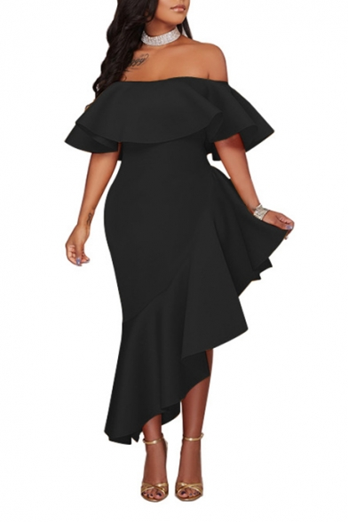Womens New Stylish Solid Color Sexy Off the Shoulder Ruffled Hem Maxi Evening Dress
