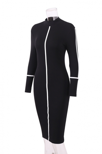 Womens New Trendy Contrast Piping High Neck Long Sleeve Midi Bodycon Dress