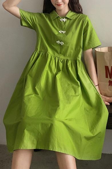 Womens New Trendy Summer Green Short Sleeve Frog Button Flared Mini Babydoll Dress