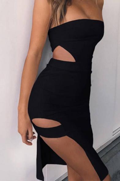 Womens Sexy Strapless Hollow Out Waist Mini Plain Bodycon Bandeau Dress