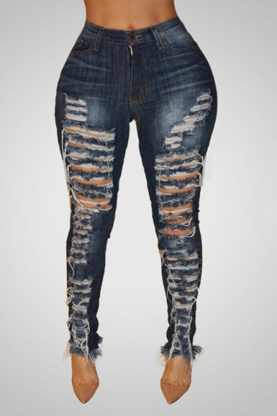 Womens Stylish Dark Blue Sexy Distressed Ripped Hole Skinny Fit Jeans