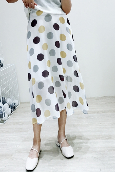Womens Summer Chic Polka Dot Pattern Maxi Chiffon Flowy Skirt