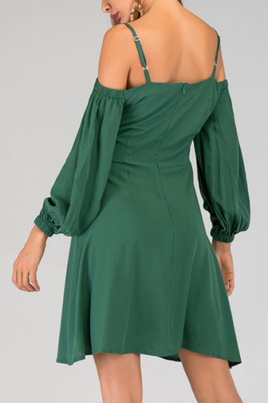 Womens Summer Vintage Green Sexy Cold Shoulder Spaghetti Straps Button Embellished Mini A-Line Dress