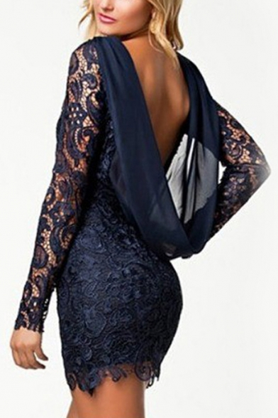 Womens Unique Fashion Open Back Long Sleeve Mini Bodycon Lace Dress