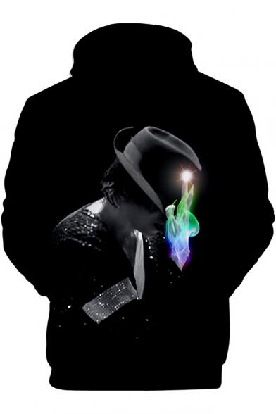 Cool Hat Figure 3D Printed Black Loose Fitted Pullover Hoodie