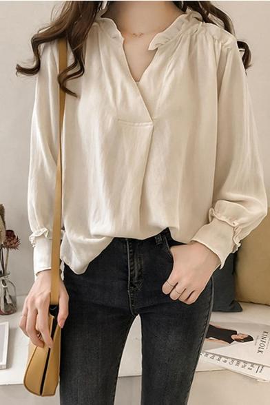 Fashion Womens Plain Oversize V Neck Long Sleeve Casual loose Blouse