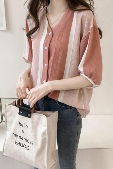 Girls Summer Pink Striped Print Batwing Sleeve V-Neck Button Down Shirt Blouse