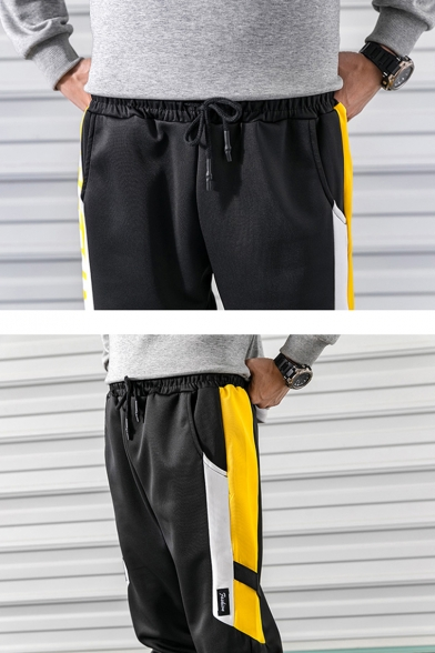 Guys Popular Fashion Colorblock Letter Printed Street Style Drawstring Waist Casual Loose Track Pants