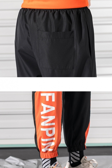 Guys Street Style Fashion Colorblock Letter FANPIN Printed Drawstring Waist Elastic Cuffs Casual Loose Track Pants