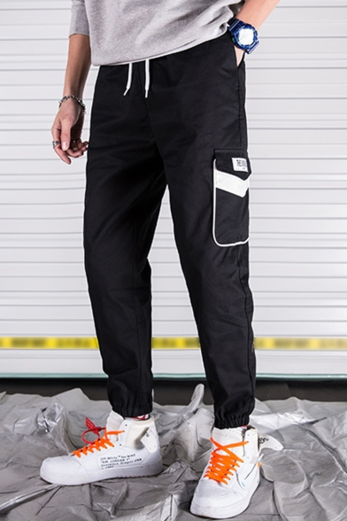 Guys Trendy Contrast Flap Pocket Side Drawstring Waist Casual Cotton Cargo Pants
