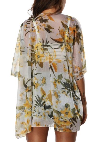 Hot Trendy Sexy Womens Floral Printed Half Sleeve Chiffon Beach Sunscreen Cardigan Shirt