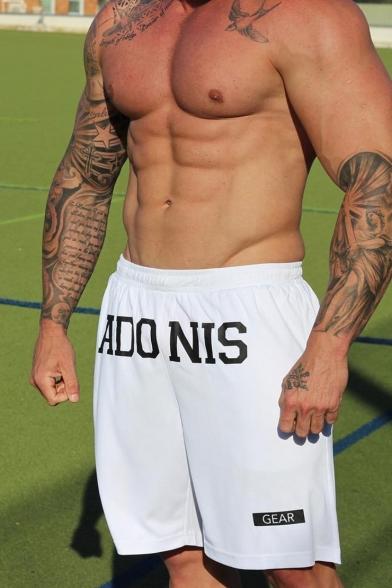 Men's Cool Fashion Letter ADONIS Printed Drawstring Waist Running Athletic Shorts