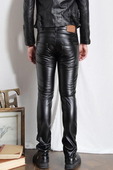 Men's Cool Fashion Solid Color Slim Fit Black PU Leather Pants