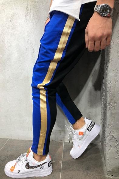 Men's Fashion Colorblocked Side-Striped Drawstring Waist Skinny Pencil Pants