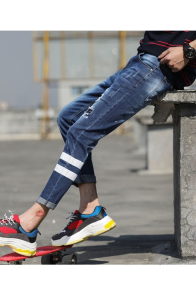 Men's Fashion Stripe Printed Rolled Cuffs Dark Blue Slim Fit Casual Ripped Jeans