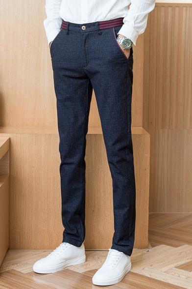 Men's New Stylish Contrast Stripe Waist Plaid Pattern Casual Cotton Dress Pants