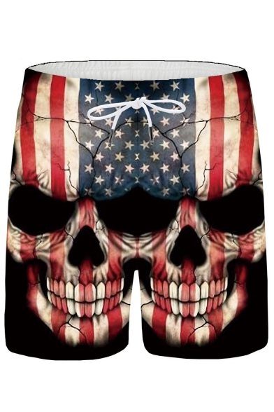 Men's Popular Fashion American Flag Skull Printed Drawstring Waist Black Casual Sports Shorts