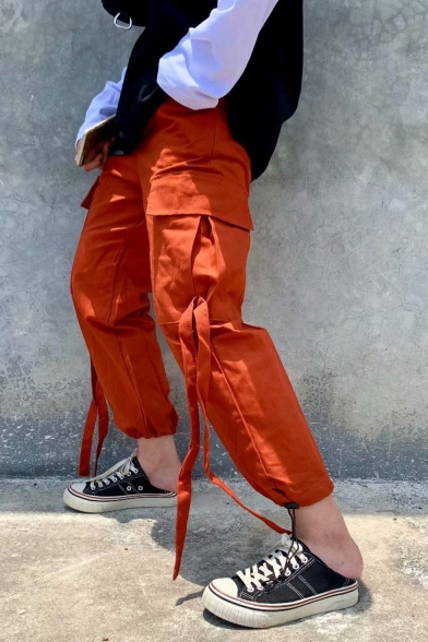 Men's Simple Fashion Solid Color Flap Pocket Side Ribbon Embellished Drawstring Cuffs Casual Cargo Pants
