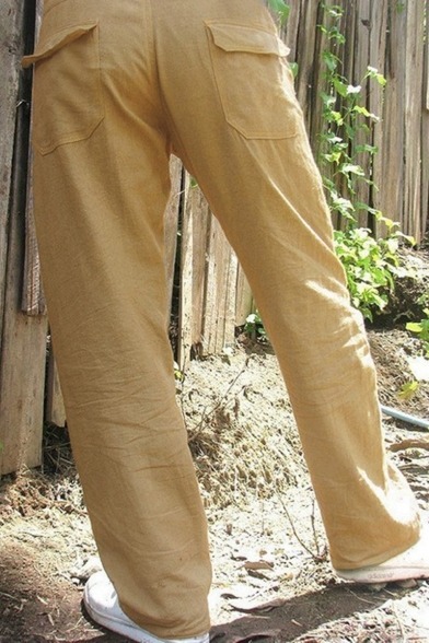 Men's Simple Plain Solid Color Drawstring Waist Casual Loose Wide Leg Pants