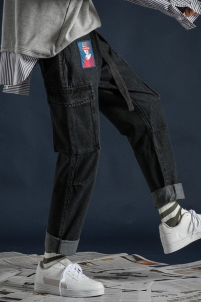 Men's Stylish Figure Patched Flap Pocket Side Rolled Cuff Casual Straight Jeans