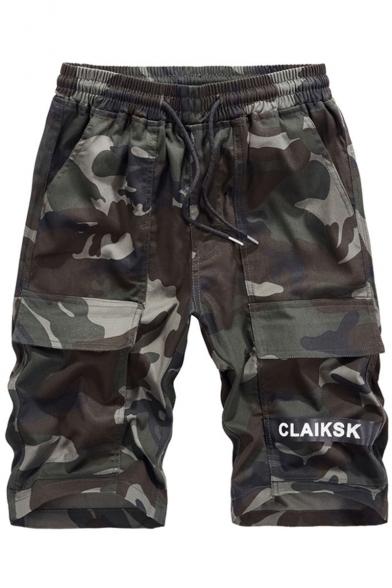 Men's Summer Fashion Cool Camouflage Letter Print Drawstring Waist Leisure Cargo Shorts