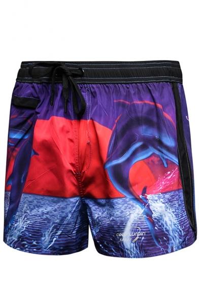 Men's Summer Fashion Shark Printed Drawstring Waist Purple Sports Running Shorts
