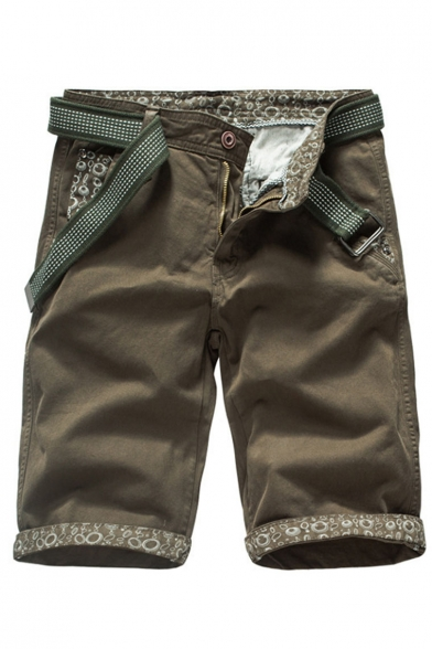 Men's Summer New Stylish Printed Rolled Cuffs Casual Cotton Cargo Shorts