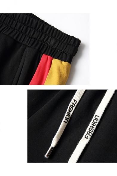 Men's Summer Trendy Colorblocked Stripe Letter Printed Flap Pocket Drawstring Waist Casual Cotton Cargo Shorts